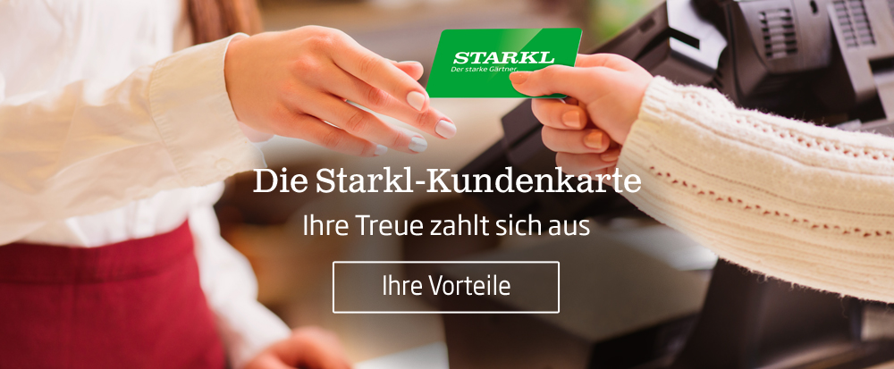Die Starkl Kundenkarte kann in allen Gartencentern in Wien und Niederösterreich verwendet werden. Bei jedem Pflanzeneinkauf wird Ihnen der Betrag auf der Kundenkarte gutgeschrieben.